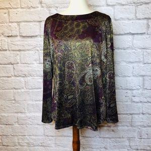 Susan Graver Paisley Long Sleeve Blouse